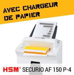 Destructeur de documents HSM Securio AF 150 avec chargeur de papier