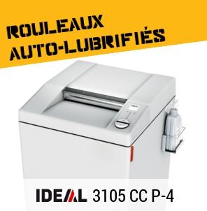 Destructeur IDEAL 3105 CC de niveau P-4 avec auto-lubrification des rouleaux de coupe